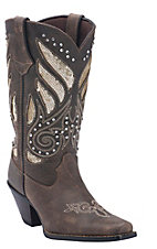 Durango Crush Women's Brown with Gold Sequins Snip Toe Western Boot