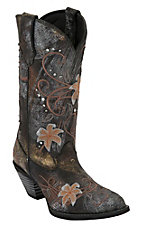 Durango® Crush™ Women's Distressed Black Metallic w/ Flower Embroidery Snip Toe Western Boots