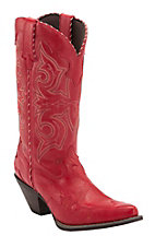 Durango Crush Women's Red Rock-N-Scroll Wing Tip Snip Toe Western Boots
