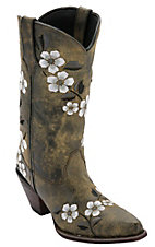 Durango® Crush™ Women's Marbled Tan w/ Floral Embroidery Snip Toe Western Boots