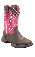 Durango Lady Rebel Women's Dark Brown w/ Pink Breast Cancer Awareness Square Toe Western Boot