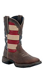 Durango Rebel Ladies Dark Brown w/ American Flag Top Square Toe Western Boots
