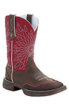 Durango® Rebel™ Ladies Brown Distressed w/ Red Floral Top Square Toe Western Boots