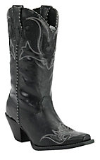 Durango Crush Ladies Black w/ White Embroidery Snip Toe Western Boots
