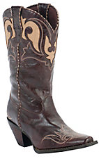 Durango Crush Ladies Chocolate w/ Tan Embroidery Snip Toe Western Boots