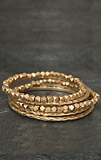 Pannee® Gold Bead & Hammered Bangle Set