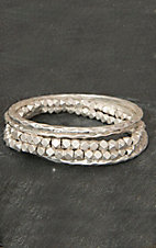 Pannee® Silver Bead & Hammered Bangle Set