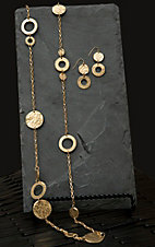 Pannee® Gold Hammered Station Necklace & Earring Set