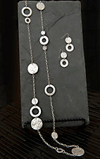 Pannee® Silver Hammered Station Necklace & Earring Set