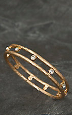 Pannee® Gold w/ Rhinestones Hammered Bangle