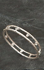 Pannee® Silver w/ Rhinestones Hammered Bangle