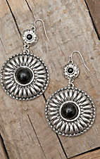 West & Co® Silver Concho w/ Black Stone Dangle Earrings
