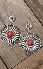 West & Co® Silver Concho w/ Red Stone Dangle Earrings