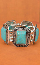 Silver with Turquoise Rectangle Stretch Bracelet