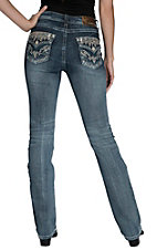 Grace in LA Women's Medium Wash with Sequin Embroidered Flap Pocket Easy Fit Boot Cut Jean - Extended Sizes