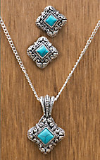 Silver Strike® Turquoise/Silver Square Jewelry Set