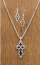 3-D Belt Company® Silver Cross Jewelry Set