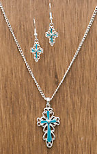 Silver Strike® Silver Turquoise Delicate Cross Jewelry Set