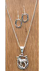 3-D Belt Company® Silver Horseshoe Jewelry Set