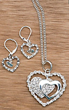 Silver Strike® Double Heart Jewelry Set