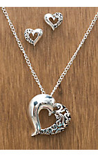 3-D Belt Company® Silver Smooth/Filigree Heart Jewelry Set