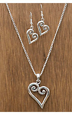 3-D Belt Company® Silver Heart Jewelry Set
