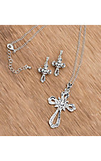 3-D Belt Company® Silver Filigree Crystal Cross Jewelry Set