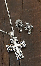 3-D Belt Company® Silver Filigree Cross Jewelry Set