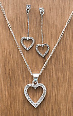 3-D Belt Company® Silver and Clear Crystal Heart Jewelry Set