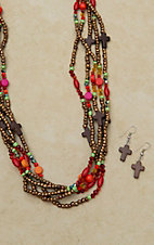 Cindy Smith Brown, Red, Green and Orange Multi Strand Beaded Cross Necklace Jewelry Set