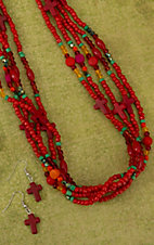 Red, Green, Pink and Orange Multi Strand Beaded Cross Necklace Jewelry Set