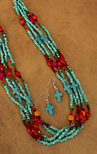 Cindy Smith Turquoise Crosses and Red, Orange, Green and Pink Beaded Necklace Jewelry Set