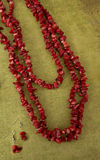 Cindy Smith® Red Chip Stones 48 Inches Single Strand Necklace and Earrings Jewelry Set