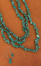 Turquoise Chip Stones 48 Inches Single Strand Necklace and Earrings Jewelry Set