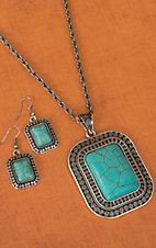 Silver with Turquoise Rectangle Pendant Necklace and Earrings Jewelry Set