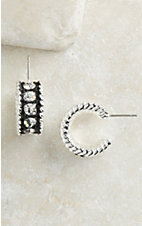 Montana Silversmiths® Silver with Black Crystal Shine Small Hoop Earrings