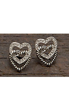 Montana Silversmiths® Crystal and Twisted Rope Hearts Post Earrings