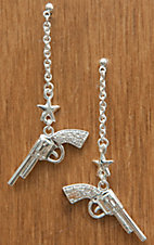 Montana Silversmiths® Silver Dangle Cowgirl Pistols and Stars Rhinestone Earrings