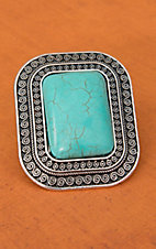 Cindy Smith® Silver with Turquoise Rectangle Stretch Ring