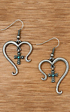 Montana Silversmiths® Antiqued Silver Open Heart with Cross and Turquoise Earrings