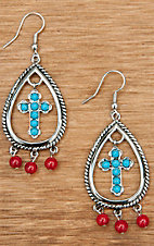 Montana Silversmiths® Silver Tear Drop with Turquoise Cross and Red Beads Earrings