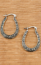 Montana Silversmiths® Silver with Scrolling Small Hoop Earrings