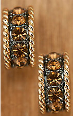 Montana Silversmiths® Topaz Crystal Gold Rope Edge Earring
