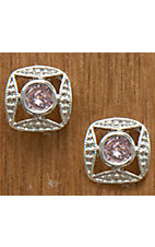 Montana Silversmiths® Silver Bezel Set Square Pink Crystal Earrings