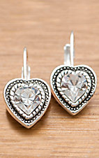 Montana Silversmiths® Silver Heart Clear Crystal Earrings