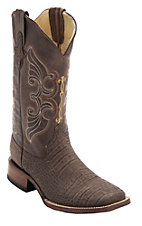 Ferrini Men's Chocolate Suede Gator Print w/Brown Top Double Welt Square Toe Western Boots