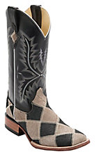 Ferrini Men's Grey/Black Caiman Print Patchwork w/Black Top Double Welt Square Toe Western Boots