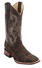 Ferrini Men's Chocolate Elephant Print Patchwork w/Chocolate Top Double Welt Square Toe Western Boots