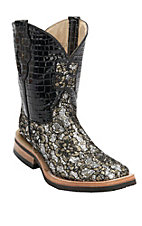 Ferrini Ladies Gold/Silver/Black Lace Floral Cowgirl Cool w/Black Gator Print Top Double Welt Square Toe Western Boots