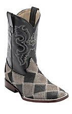 Ferrini® Kid's Grey/Black Caiman Print Patchwork w/Black Top Double Welt Square Toe Western Boots